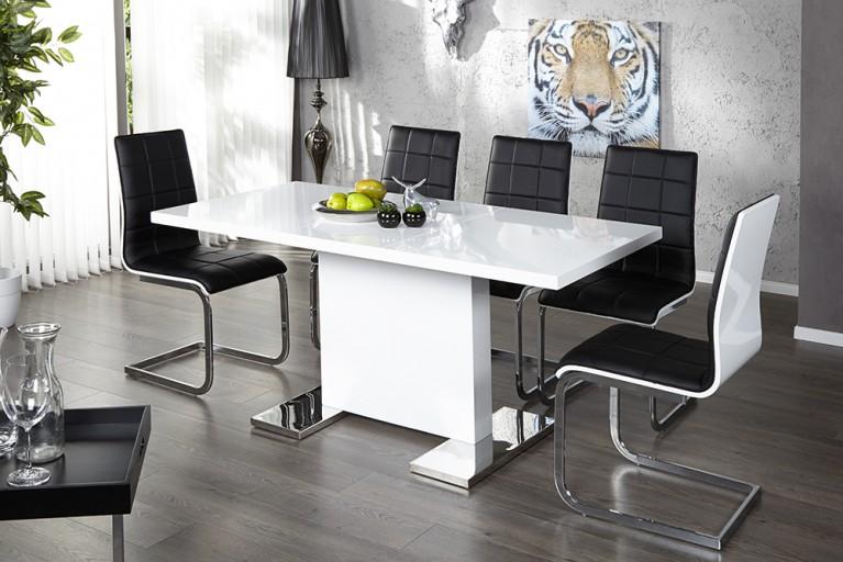 Design Esstisch POLAR weiss Hochglanz 120 - 160 cm ausziehbar Tisch