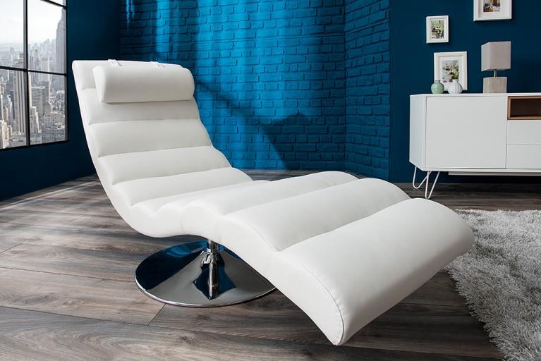 Extravagante Design Liege RELAXO weiß chrom Relaxliege