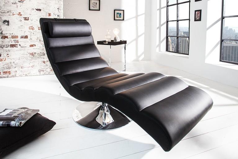 Extravagante Design Liege RELAXO schwarz chrom Relaxliege