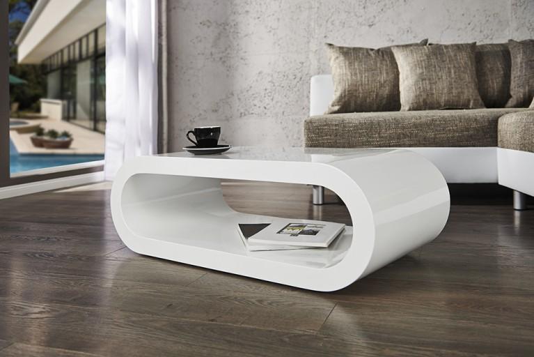 Design Couchtisch BOWL hochglanz weiß 90cm