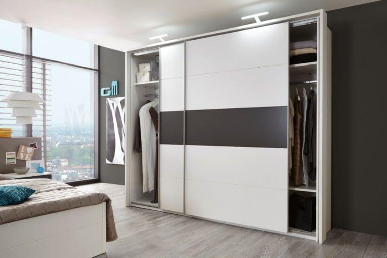 Exklusiver Design Schwebetürenschrank SOHO XXL 270cm weiß / Lava Kleiderschrank inkl. Zubehör