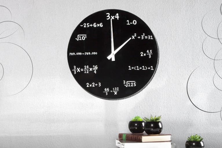 Wanduhr MATHEMATIC aus Glas schwarz 35 cm Uhr mit Mathe-Formeln