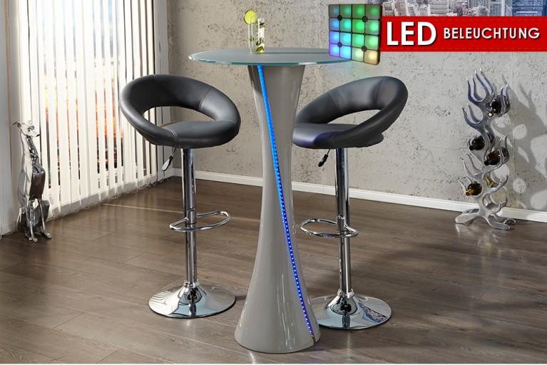 Design Bartisch Bistrotisch TWISTER 115cm Stehtisch mit blauer LED Beleuchtung