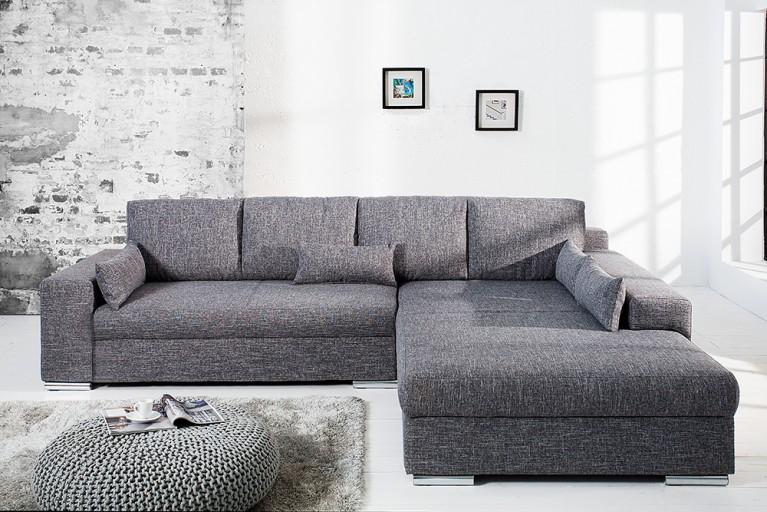 Design Wohnlandschaft VINCENZA grau Strukturstoff mit Bettfunktion Federkern