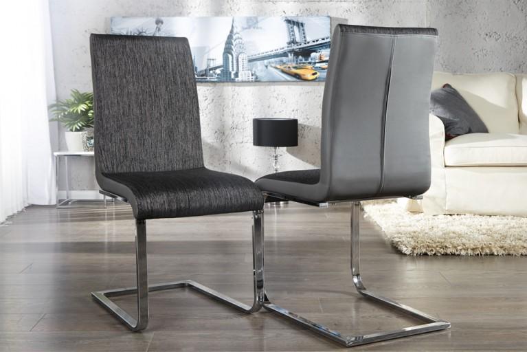 Freischwinger Stuhl METROPOLIS Strukturstoff charcoal schwarz