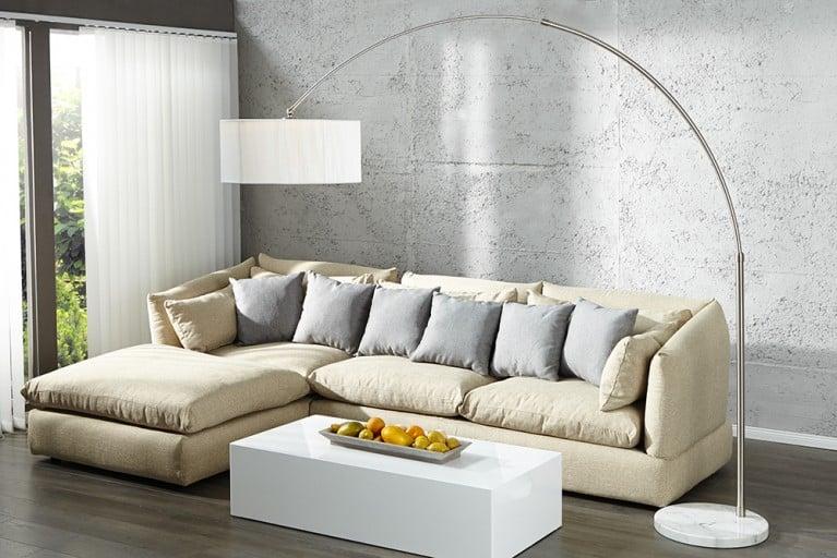 Exklusive Design Bogenleuchte EXTENSO weiß mit weißem Marmorfuß Bogenlampe