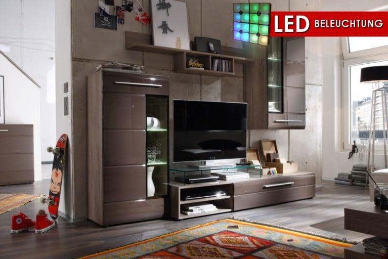 Design Wohnwand SKIN in High Gloss Eiche sägerau braun inkl. LED Beleuchtung