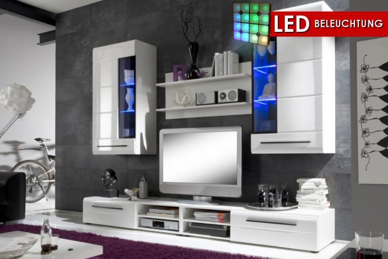 Design Wohnwand SKIN 2 in High Gloss weiss inkl. LED Beleuchtung