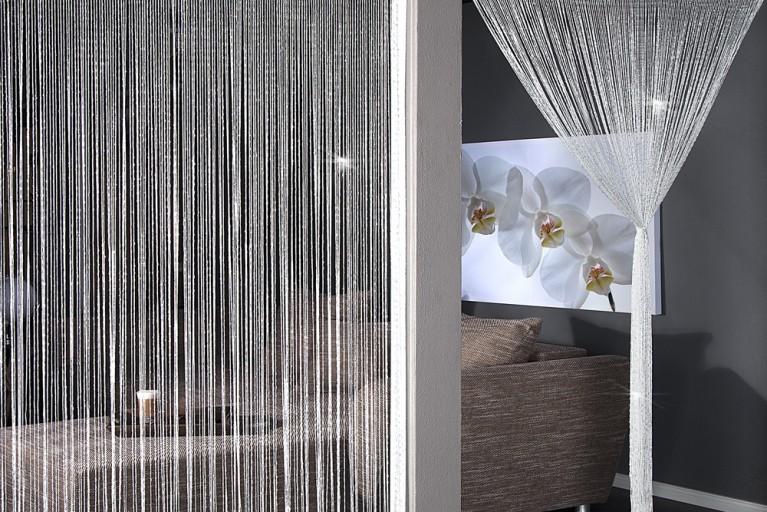 Design Glitzer Fadenvorhang BRILLIANCE weiss Raumteiler Sichtschutz