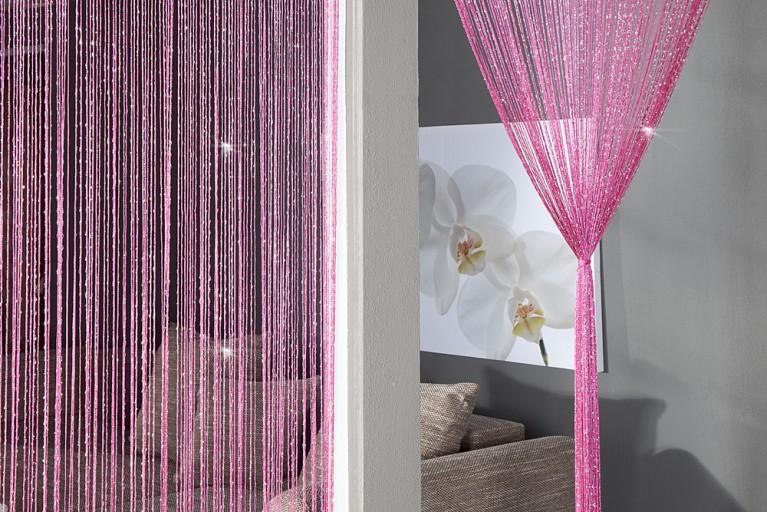 Design Glitzer Fadenvorhang BRILLIANCE pink Raumteiler Sichtschutz