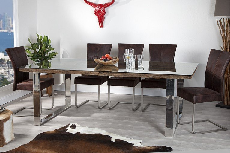 Massiver Esstisch BARRACUDA antik Teak Holz mit Stahl Kufenfüßen 200cm inkl. Glasplatte