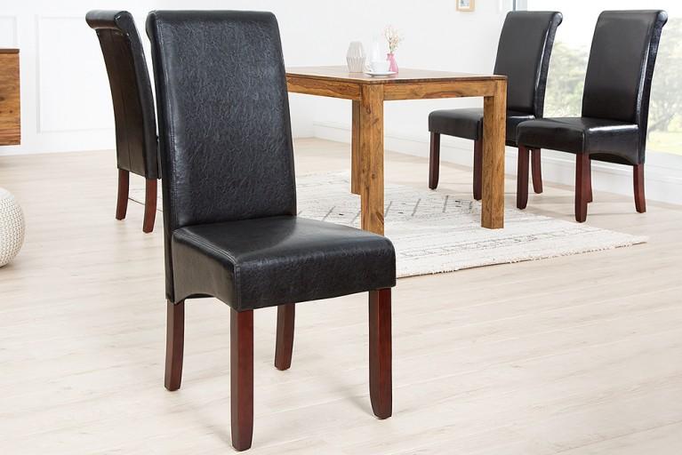 Edler Kolonial Stuhl VALENTINO mit Nackenrolle espresso - braun Massivholzbeine kolonial