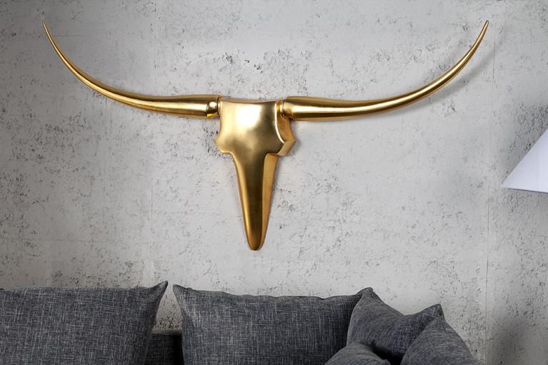 Design Accessoire Geweih BULL gold Metall - Aluminium - Legierung 125cm XL Wanddekoration