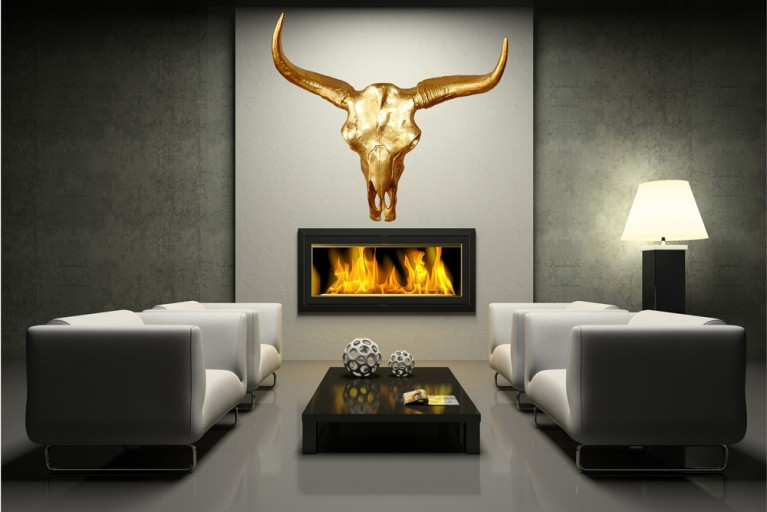 Stylischer Deko Schädel MATADOR Longhorn Skull goldfarbig Metall - Aluminium - Legierung poliert
