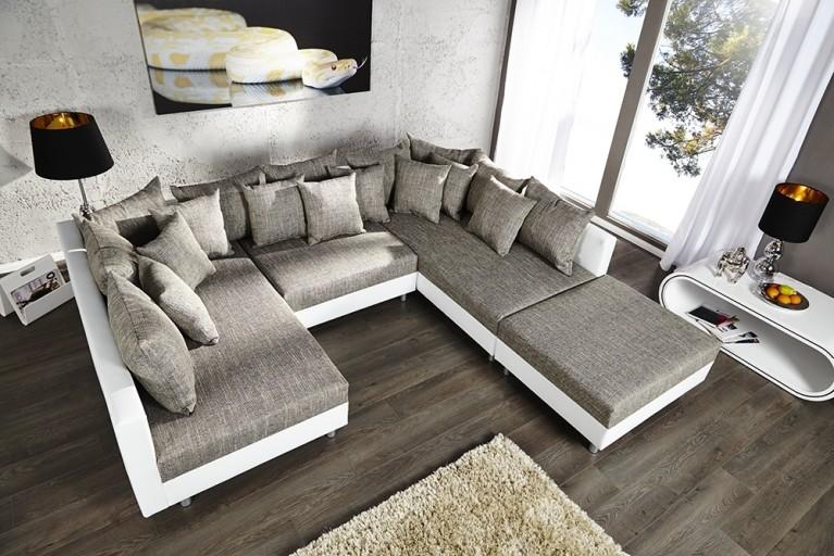 Design Sofa LOFT XXL mit Hocker weiß Strukturstoff grau inkl. großem Kissenset