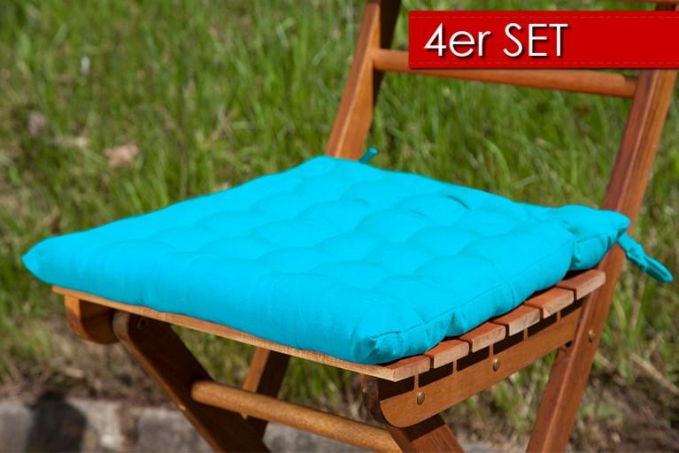 4er Set Design Sitzkissen SUMMER Türkis 40x40cm