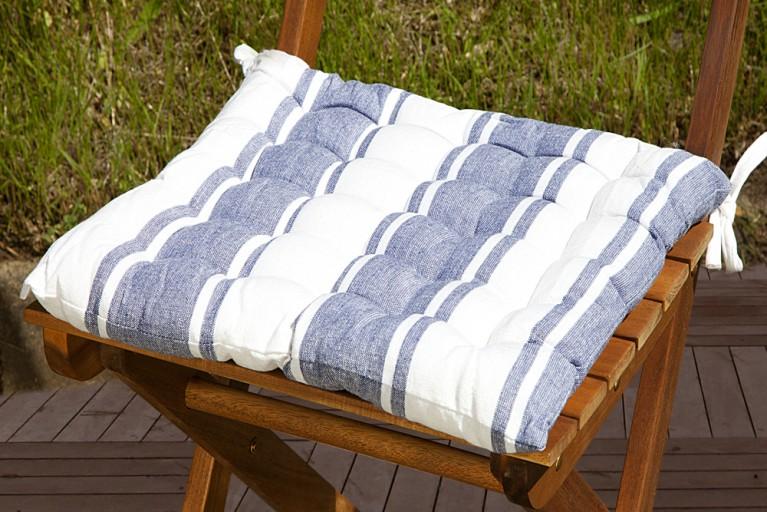 Design Sitzkissen SUMMER blau weiss gestreift 40x40cm