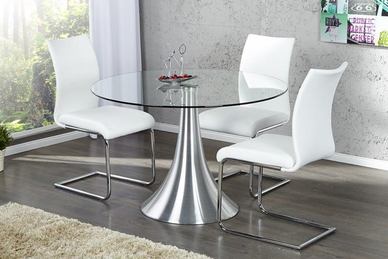 Aufwendige Aluminium-Glas Komposition Esstisch CIRCULAR 110cm großer Glastisch rund