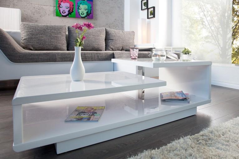 Stylischer Design Couchtisch CONCEPT 110 cm hochglanz weiß