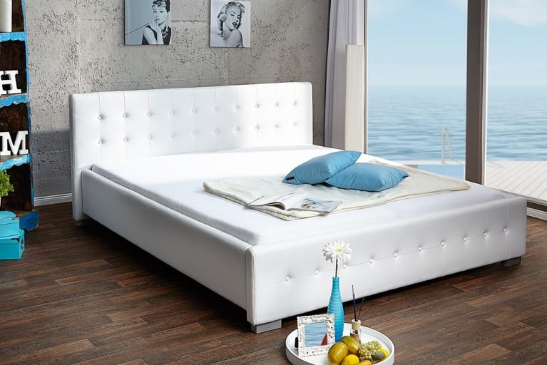 Design Bett RIMINI weiss 180 x 200cm Knopfsteppung