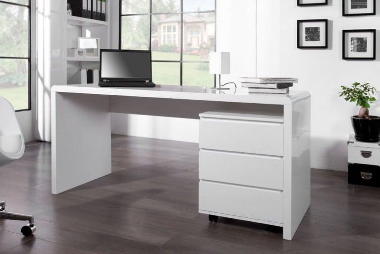 Design Schreibtisch FAST TRADE Hochglanz weiß 160cm Computertisch