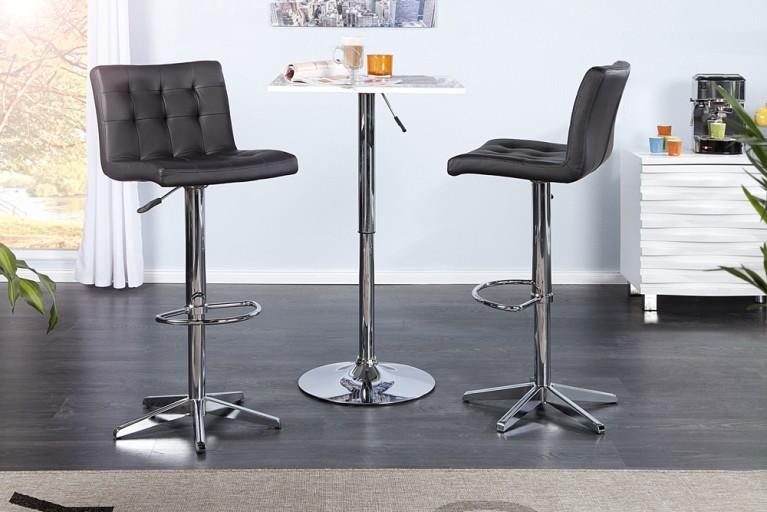 Stylischer Barhocker LEON schwarz Barstuhl mit Steppung und Chromgestell
