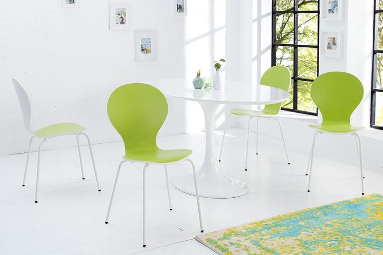 4er Set Design Stuhl FORM BICOLOR SONDEREDITION lime weiß stapelbar