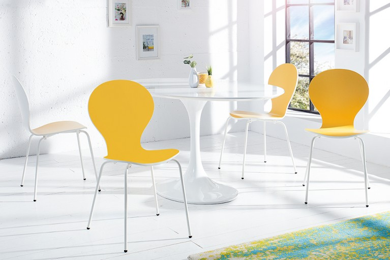 4er Set Design Stuhl FORM BICOLOR SONDEREDITION gelb weiß stapelbar
