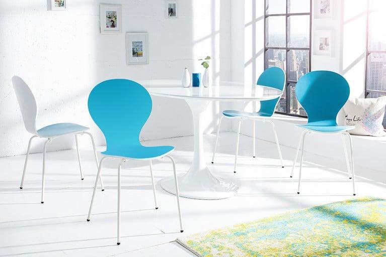 4er Set Stuhl FORM  Designklassiker aus hochwertigem Formholz BICOLOR SONDEREDITION türkis weiß stapelbar