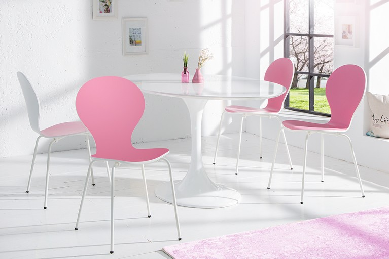 4er Set Stuhl FORM Designklassiker aus hochwertigem Formholz BICOLOR SONDEREDITION rosa weiß stapelbar