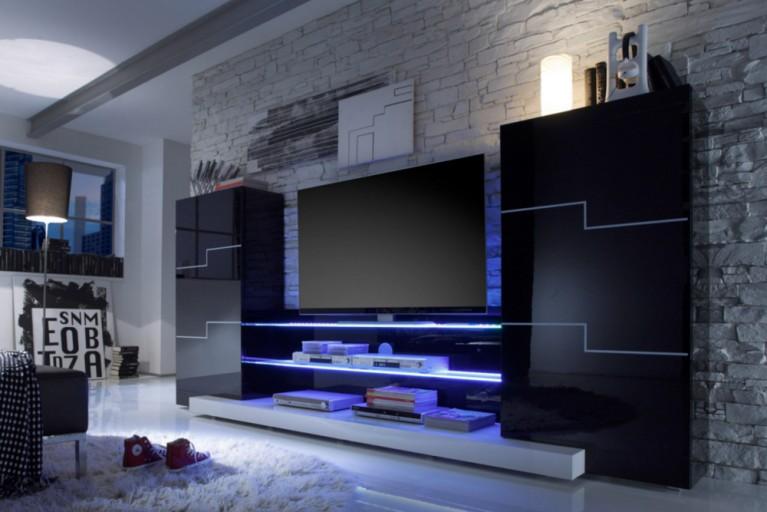 Exklusive Design Wohnwand TWIN schwarz Hochglanz inkl. blauer Glaskanten Beleuchtung
