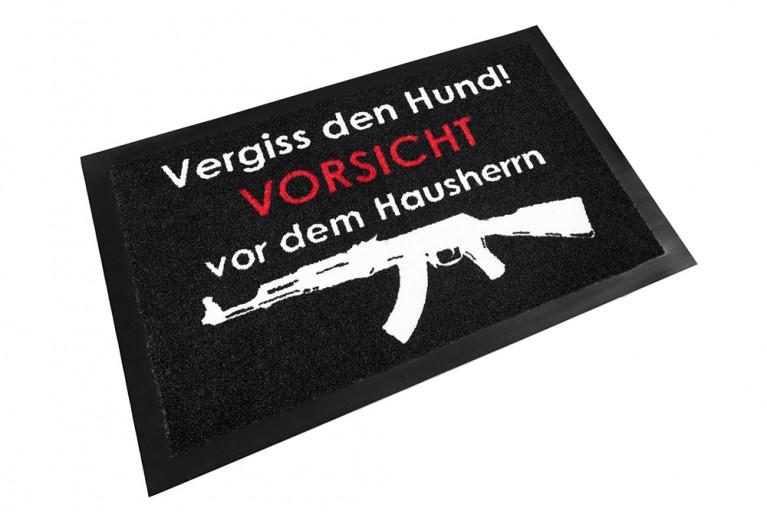 Design Fußmatte VORSICHT HAUSHERR waschbar 40x60cm Schmutzfangmatte