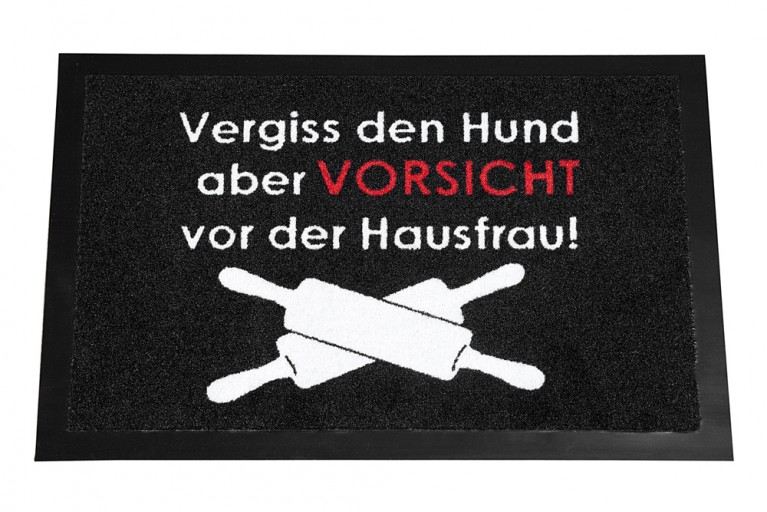 Design Fußmatte VORSICHT HAUSFRAU waschbar 40x60cm Schmutzfangmatte