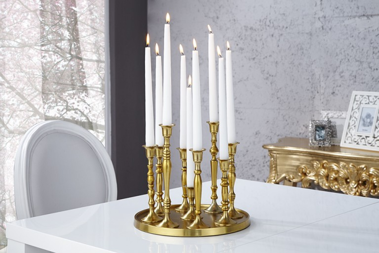 Design Deko-Platte 9-flammig Kerzenständer Lüster Kerzenhalter Goldoptik