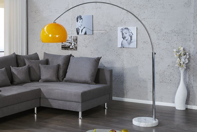 Design Bogenlampe LOUNGE DEAL orange Marmorfuss 175 - 205cm ausziehbar Bogenleuchte