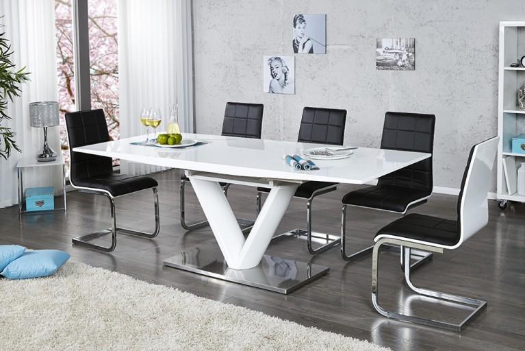 design esstisch valencia weiss ausziehbar 160 220cm. Black Bedroom Furniture Sets. Home Design Ideas
