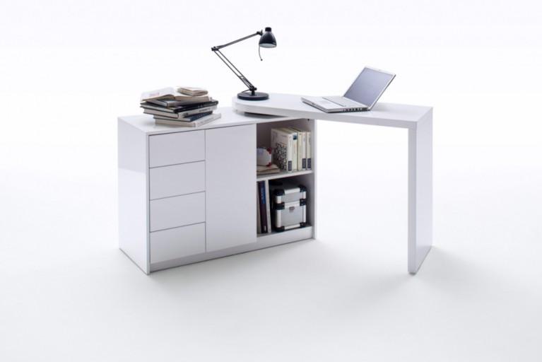 Design Schreibtischkombination VARIA Hochglanz weiss schwenkbar