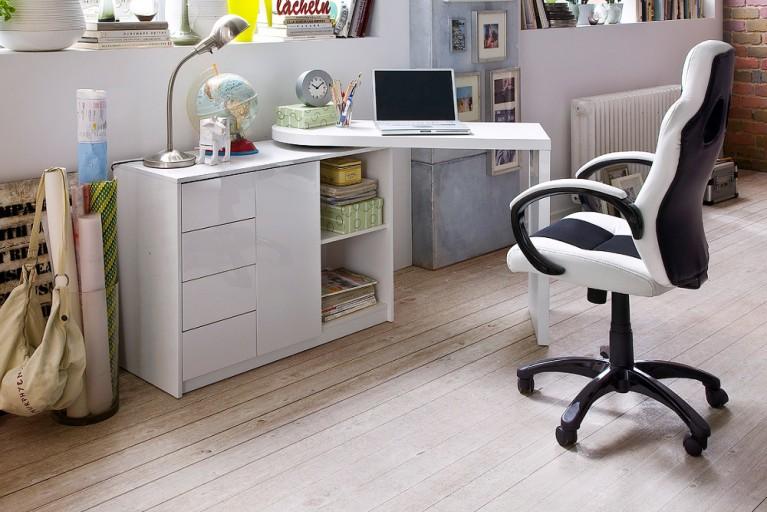 Design Schreibtischkombination MATT Original MCA Hochglanz weiss schwenkbar
