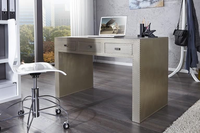 Exklusiver Design Schreibtisch TANK 120cm Holz mit Industrie Alu Finish