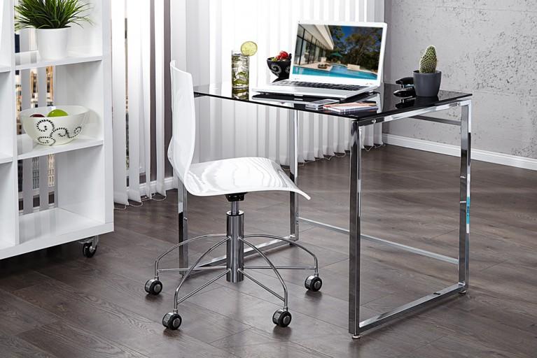 Exklusiver Design Schreibtisch LOTUS 90cm schwarz Sicherheitsglas platzsparend