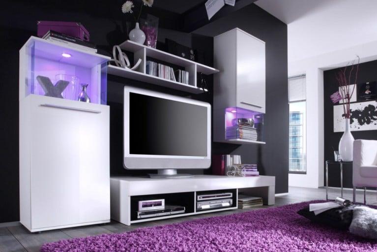 Design Wohnwand MIDNIGHT in High Gloss weiss