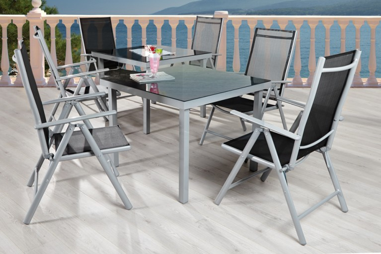 Gartenmöbel-Set PACIFIC Metall - Aluminium - Legierung 6tlg mit 2 Tischen anthrazit silber Textilehne