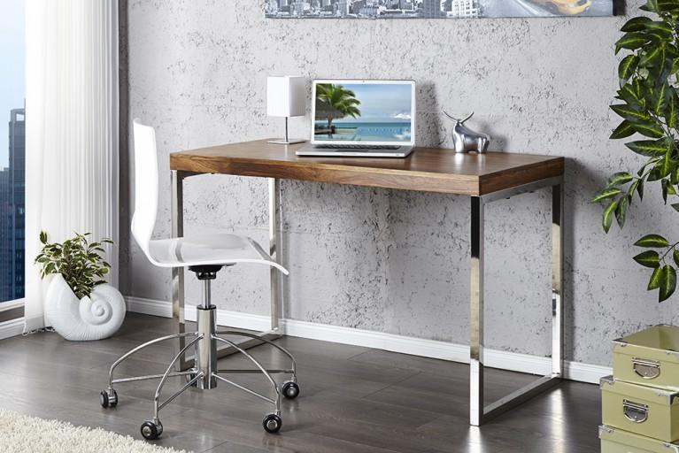 Moderner Design Schreibtisch ELEMENTS 120cm Sheesham Stone Finish verchromt