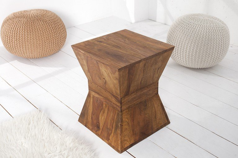 Design Beistelltisch PYRAMID 45cm massiver Holz Hocker Sheesham Stone Finish
