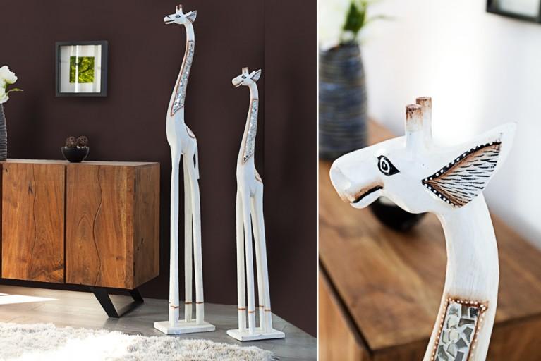 Originelle Deko GIRAFFE weiß 120cm Holz Unikat in Handarbeit Afrika Ethnostyle