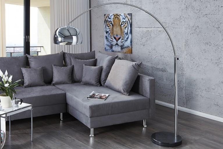 Bogenlampe LOUNGE DEAL mit Marmorfuss chrom 170-210cm ausziehbar Bogenleuchte