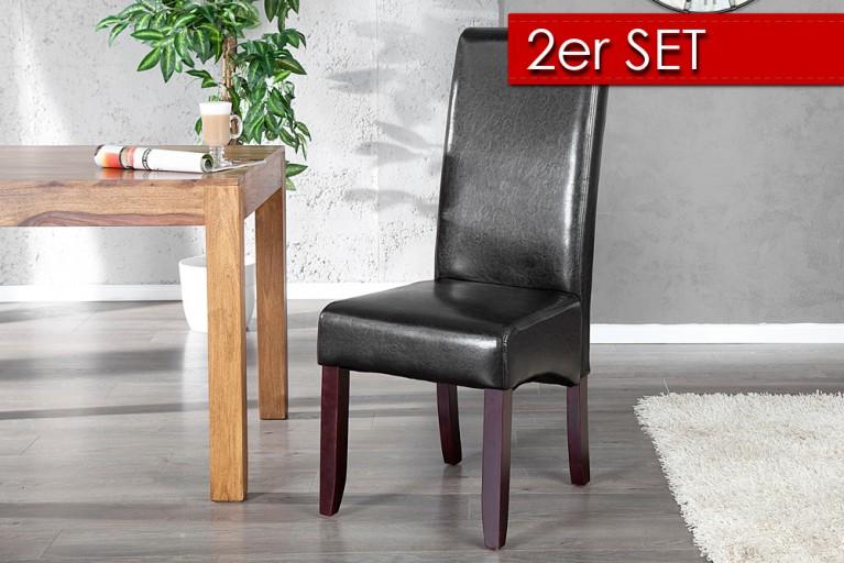 2er Set Edler Kolonial Stuhl VALENTINO mit Nackenrolle dark coffee dunkle Beine