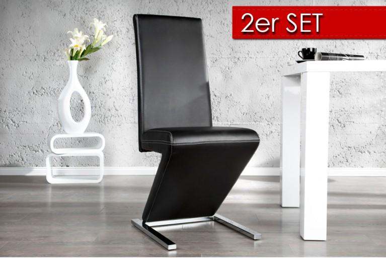2er Set vom  Eleganten Design Stuhl AIR schwarz