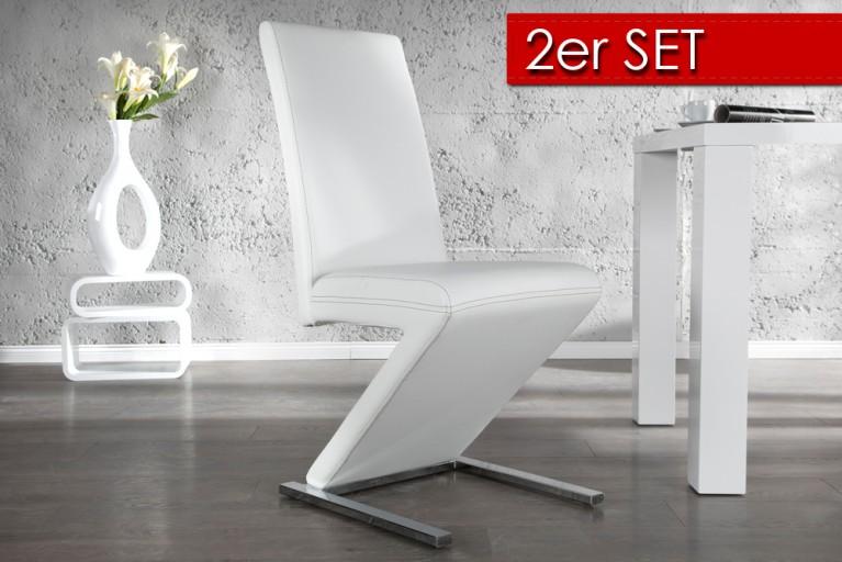 2er Set vom Eleganten Design Stuhl AIR weiss