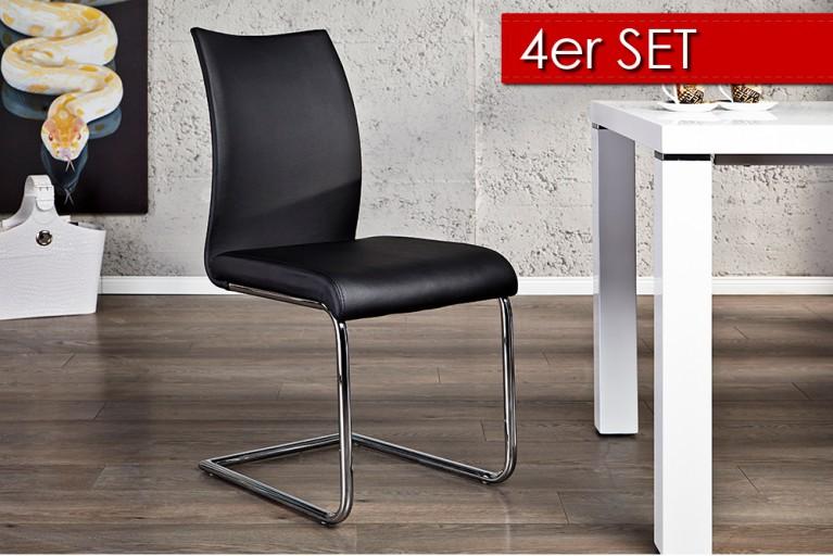 4er Set Design Freischwinger SUAVE schwarz